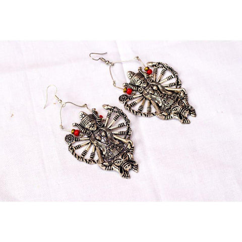 Handmade Durga-Shaped Banjaran Silver Earrings - Adaah
