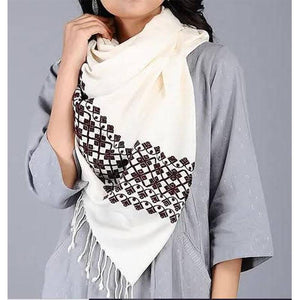 Eri/ Ahimsa Silk Stole Handwoven by Traditional Artisans - Ivory White and Brown