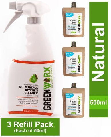 All Surface Kitchen Cleaner Combo (Spray Bottle and 3 Refill Pouches), 340g