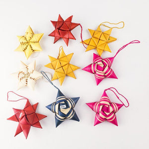 Handwoven Palm Leaf Star Ornaments (Pack of 2)