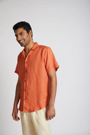 Natural Hemp Arrow Resort Half-Sleeved Shirt - Orange