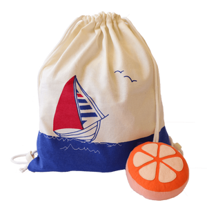 Treasure Trove Canvas Drawstring Toy Bag for Toddlers (Boat)