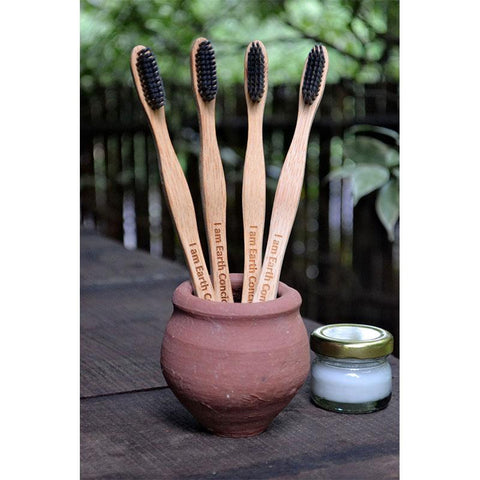 Bamboo Toothbrush with Charcoal Bristles (Pack of 2)