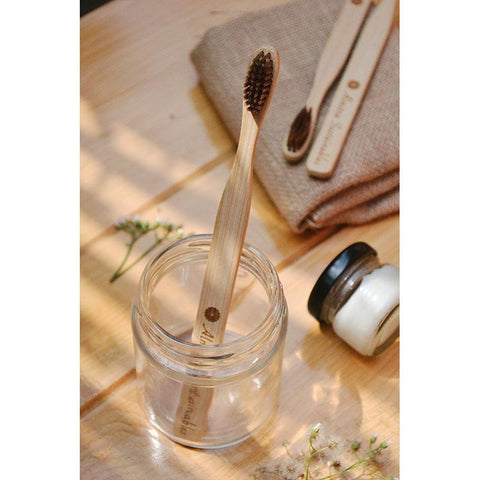 Bamboo Toothbrush with Bamboo Bristles  (Pack of 2)