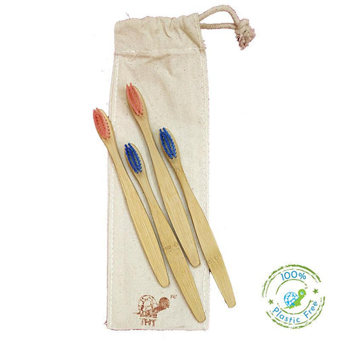 Bamboo Toothbrush with Nylon Bristles for Kids - Pack of 4
