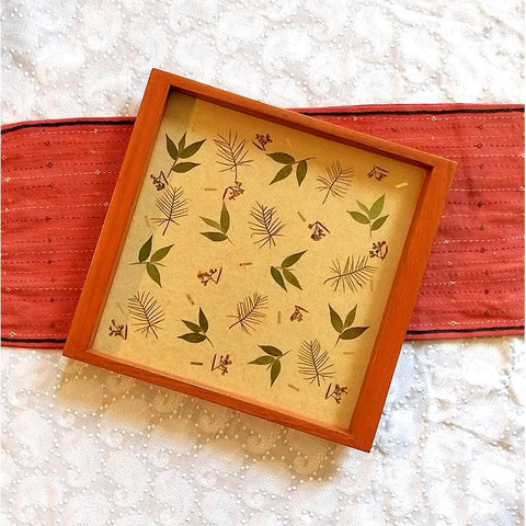 Handcrafted Square Serving Tray embellished with Dried Leaves (Beige )