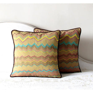 Square Cushion Cover Hand Embroidered by Tribal Women Artisans (Beige)