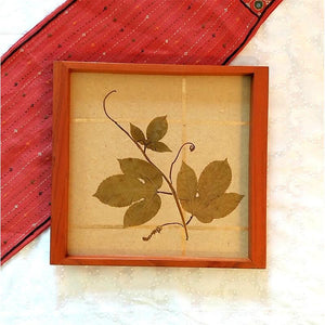 Handcrafted Square Serving Tray embellished with Dried Vine Leaves (Beige & Gold)