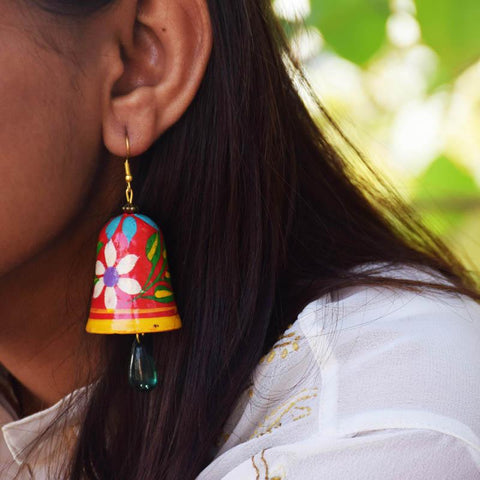 Bell with Green Drop Earrings Handcrafted by Women Artisans of Varanasi