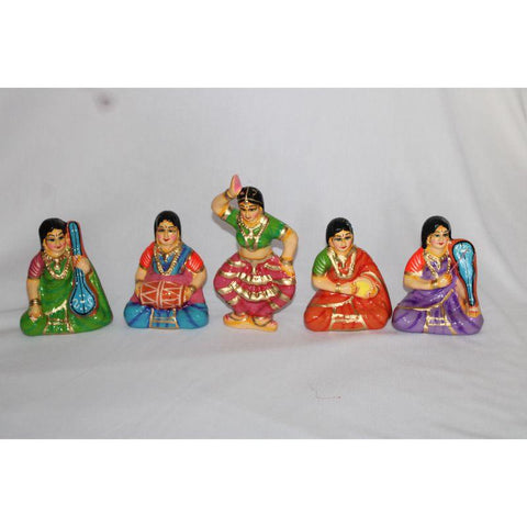 Bharatha Natyam Toys made of Paper Waste (Set Of 5)
