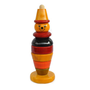 Bibbo the Clown - Hand-Crafted Wooden Stacker Toy