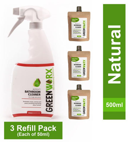 Biotech Bathroom Cleaner Combo (Spray Bottle and 3 Refill Pouches), 340g