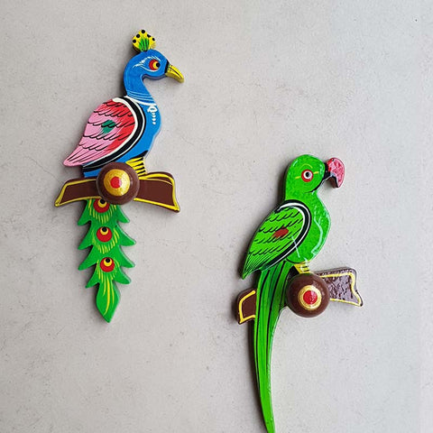 Bird Hooks in Handcarved Banarasi Woodwork (Set of 2)