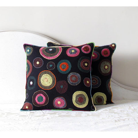 Square Cushion Cover Hand Embroidered by Tribal Women Artisans (Black)