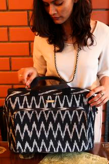 Handwoven Ikat Laptop Bag - Black and Grey