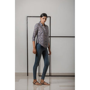 Women's Block Printed Handwoven Cotton Collar Shirt - Indigo