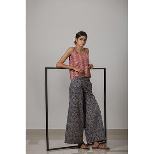 Handblock Printed Cotton Wide Leg Women's Pant - Indigo