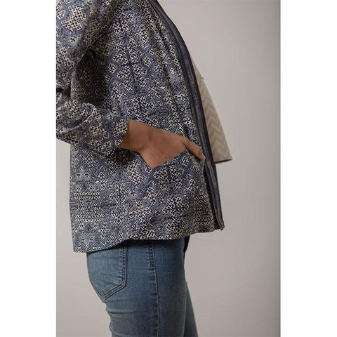 Women's Block Printed Handwoven Cotton Kimono Jacket- Indigo
