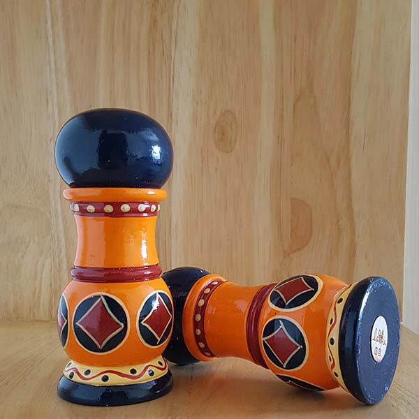 Hand-carved Salt and Pepper Shakers with Banarasi Woodwork (1 pair)