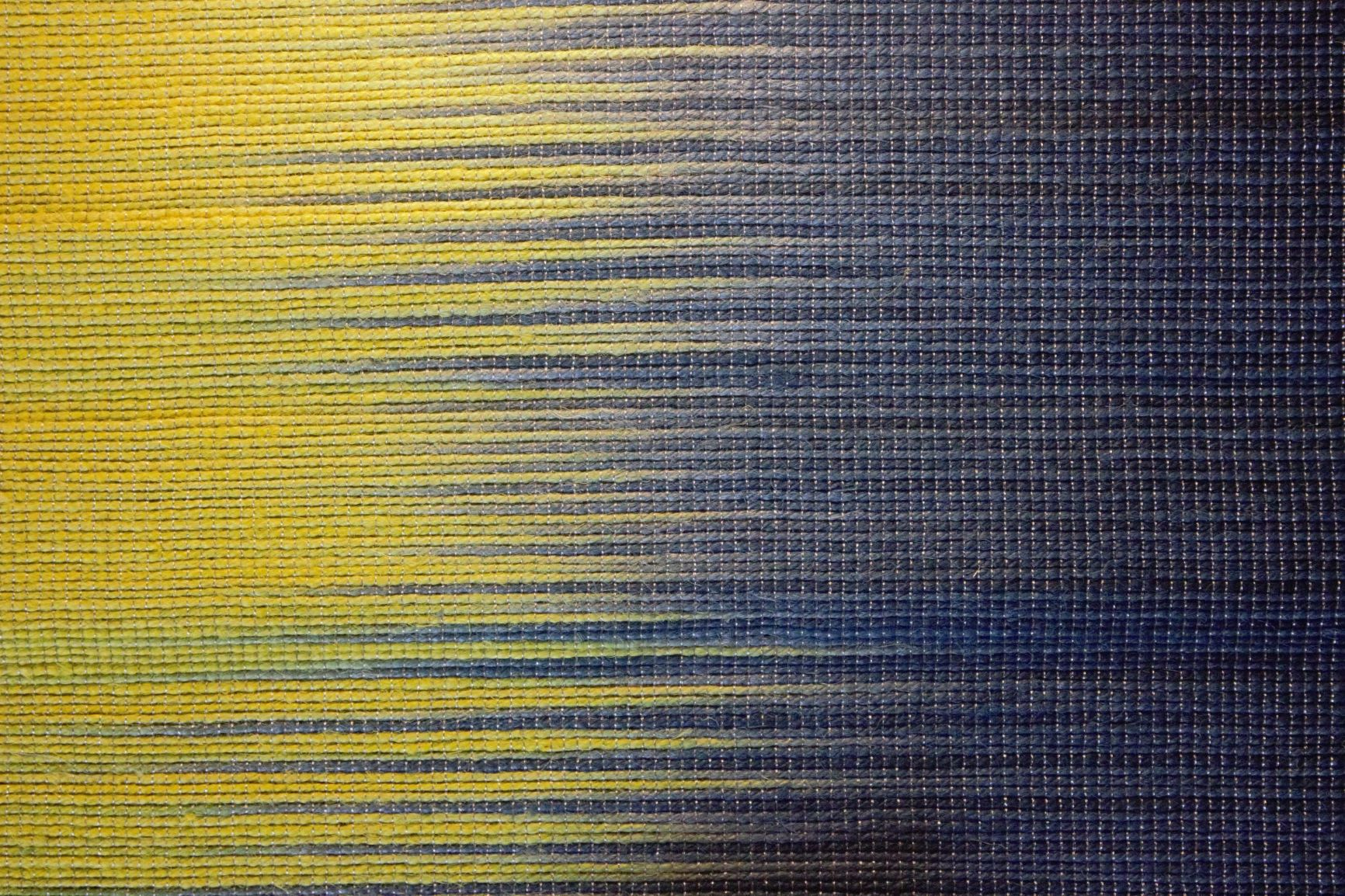 Set of Handwoven Hibiscus Fibre Runner and 6 Placemats (Blue and Yellow)