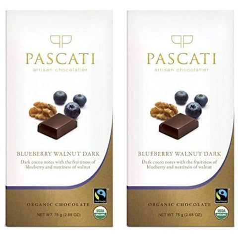 Blueberry and Walnut Organic Dark Chocolate, 75g (Pack of 2)