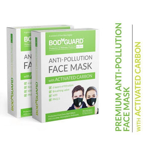 Bodyguard Reusable Anti-Pollution Face Mask with Activated Carbon, N99 + PM2.5 for Men and Women - Large