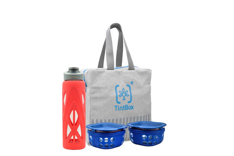 Borosilicate Glass Lunchbox Set with Protective Silicone Sleeve (Set of 2 Boxes - 300ml each) + Glass Water Bottle (750ml) + Canvas Carry Bag Combo