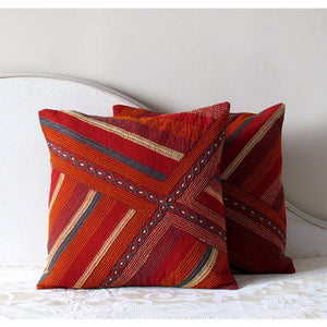 Striped Square Cushion Cover Hand Embroidered by Tribal Women Artisans (Brown)