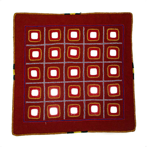Mirror Embellished Cushion Cover with Lambani Hand-Embroidery - Red (CC-10)