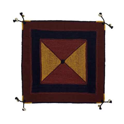Cushion Cover with Lambani Hand Embroidery  - Maroon and Yellow (CC-11)