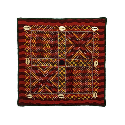 Cushion Cover with Lambani Hand Embroidery and Shell Embellishment - Red with Multi-Coloured Embroidery (CC-9)