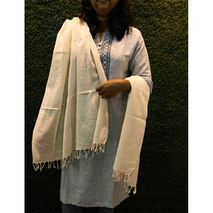 Plain Natural Coloured Handwoven Cotton Dupatta