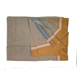 Kondi Chukki Blue and Brown Check Handloom Ilkal Cotton Saree