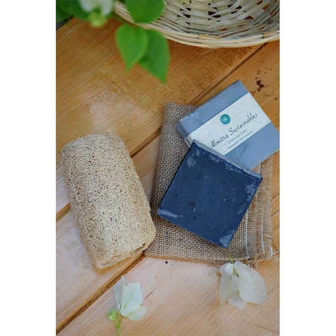 Handmade, Cold-Processed Charcoal Soap and Coconut Fibre Loofah Combo