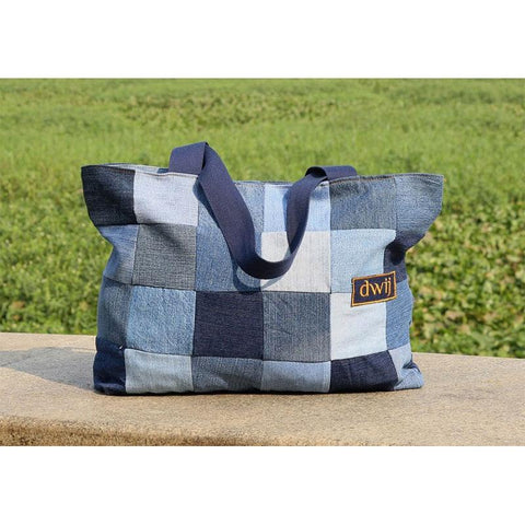 Chequered Tote Bag made with Upcycled Jeans