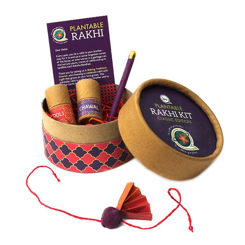 Eco-Friendly Classic Rakhi Kit with Plantable Rakhi and Plantable Seed Pencil