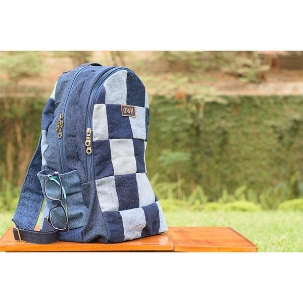 Classic Backpack made with Upcycled Jeans