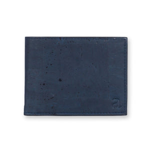 Cork Fabric Men's  Coin Wallet - Blue