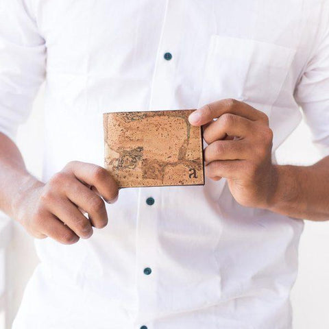 Cork Fabric Men's Coin Wallet - Terrain + Brown