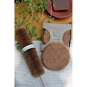 Coconut Fibre Multipurpose Scrubber & Bottle Cleaner Combo