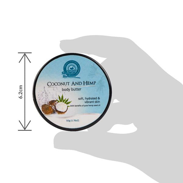 Natural Vegan Coconut and Hemp Body Butter Cream, 50g