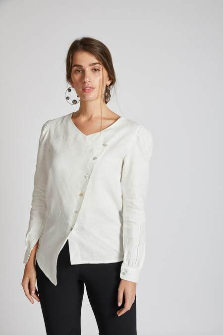 Natural Hemp Asymmetric Top - White