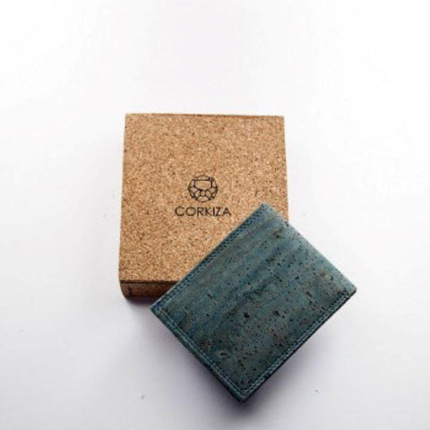 Men's Handcrafted Bi-Fold Cork Money Clip - Teal
