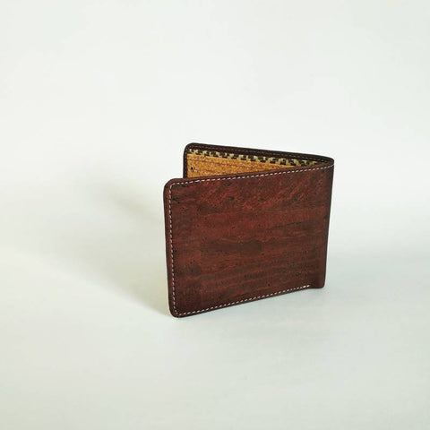 Men's Handcrafted Tri-Fold Cork Wallet - Brown