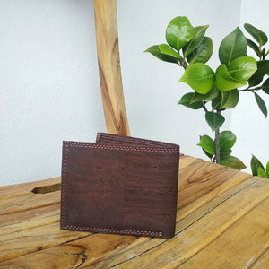 Men's Bi-Fold Cork Wallet - Dark Brown