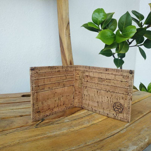 Men's Handcrafted Bi-Fold Cork Wallet - Natural Stripes