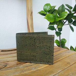 Men's Handcrafted Bi-Fold Cork Wallet - Olive Green