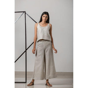 Handwoven Cotton-Linen Jacquard Wide Leg Women's Pants - Khaki