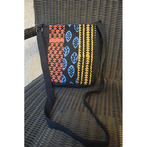 Cotton Sling Bag - Black, Blue, Rust and Brown