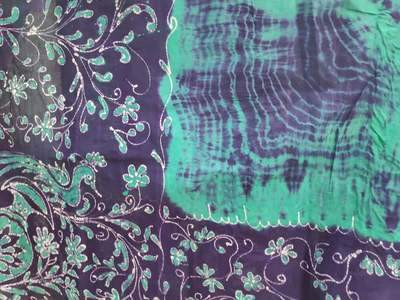 Cotton Wax Batik Saree -  Blue and Sea Green